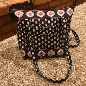 Vera Bradley Classic Black Zippered Tote Bag, EUC